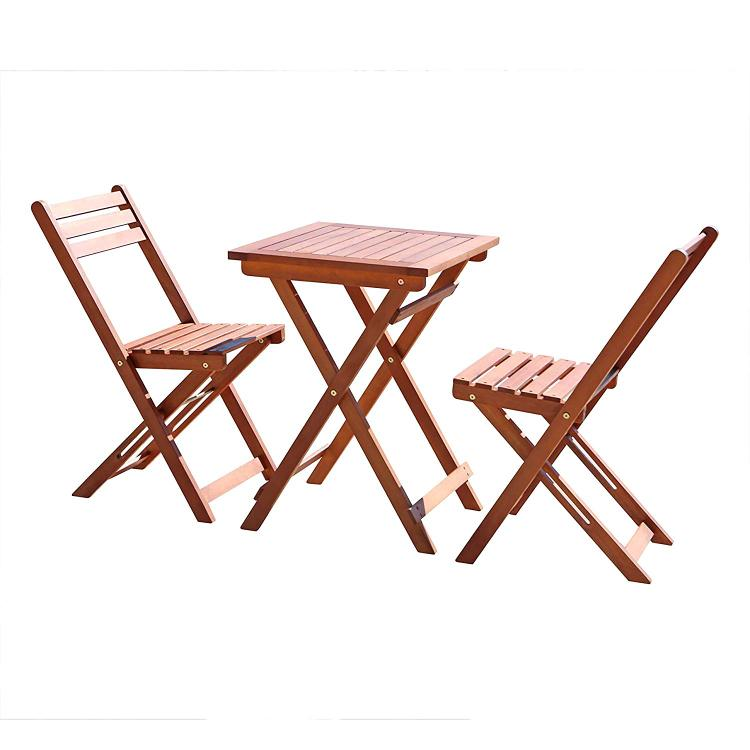 3-Piece Premium  Eucalyptus Wood Bistro Set (1 Table & 2 Chairs) [Item # V1381]