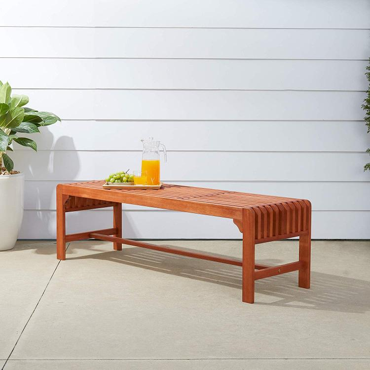 Backless 5-foot  Eucalyptus Wood Bench - [V1400]