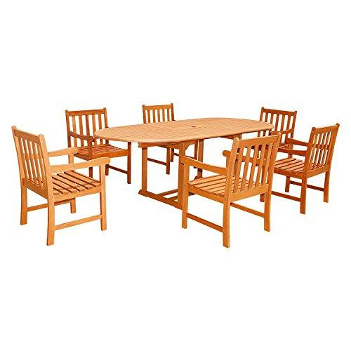 Eco-Friendly 7-Piece Wood Outdoor Dining Set with Oval Extension Table V144SET23