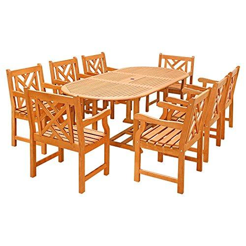 Eco-Friendly 9-Piece Wood Outdoor Dining Set  with Oval Extension Table and Decorative Back Arm Chairs V144SET24