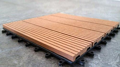 12 x 12 Eco-Friendly Wood-Plastic Composite Interlocking Decking Tile - Light Brown  WPC001 (11 tiles/box) - [V1602]