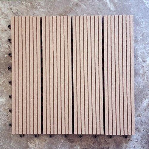 12 x 12 Eco-Friendly Wood-Plastic Composite Interlocking Decking Tile - Dark Brown  WPC003 (11 tiles/box) - [V1603]