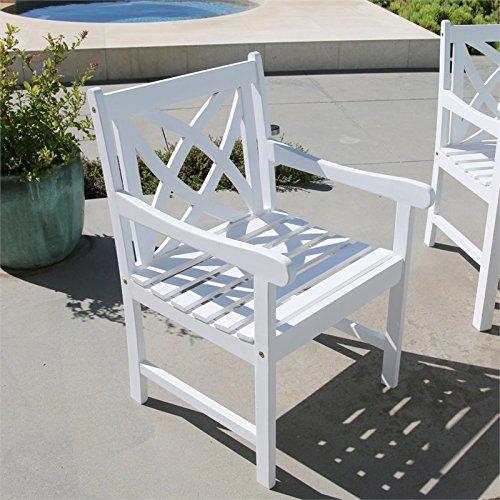 Bradley Eco-friendly Outdoor White Hardwood Garden Arm Chair [Item # V1610]