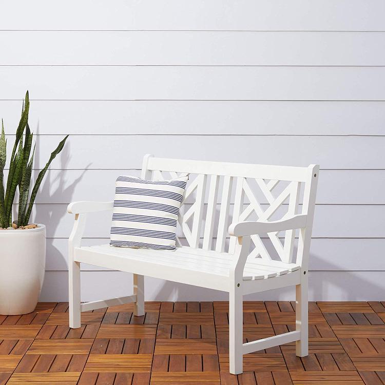 Vifah Bradley Eco-friendly 4-foot Outdoor White Wood Garden Bench
