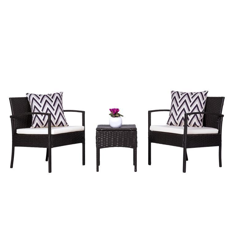 CyrusCushioned Compact Outdoor/Indoor Patio Garden Wicker Coffee Set [Item # V1813]