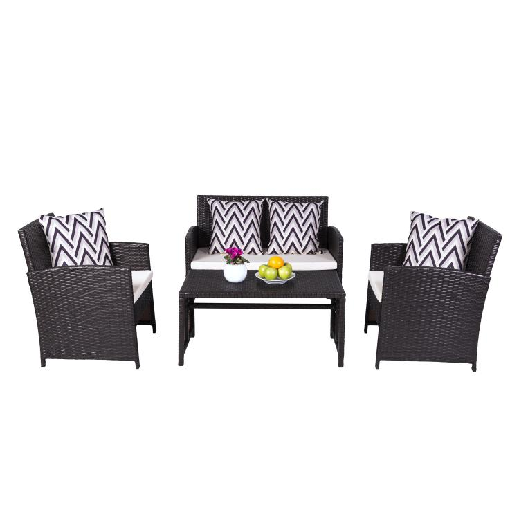 Cyrus Cushioned Compact Outdoor/Indoor Patio Garden Wicker Dining & Coffee Set