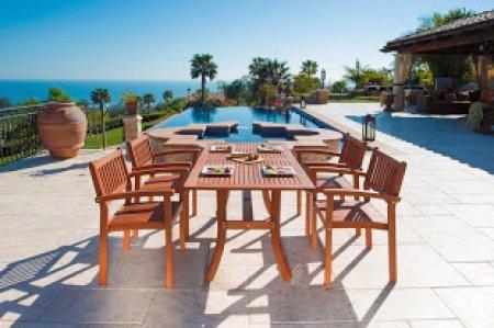 Malibu Eco-Friendly 5-Piece Wood Outdoor Dining Set with Rectangular Curvy Table and Stacking Chairs V187SET3