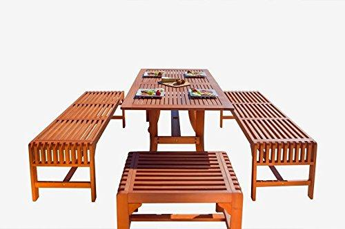 Malibu Eco-Friendly  5-Piece Wood Outdoor Dining Set with Backless Benches V189SET12