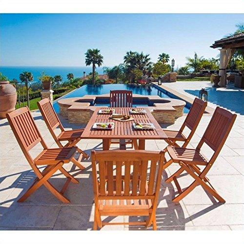 Malibu Eco-Friendly 7-Piece Wood Outdoor Dining Set with Foldable Chairs V189SET7