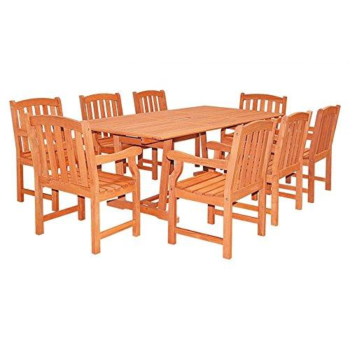 Rectangular Extension Table & Wood Arm ChairOutdoor Dining Set 21 [Item # V232SET21]