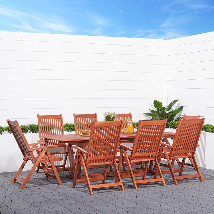 9-Piece Outdoor Wood Dining Set with Rectangular Table [Item # V232SET4]