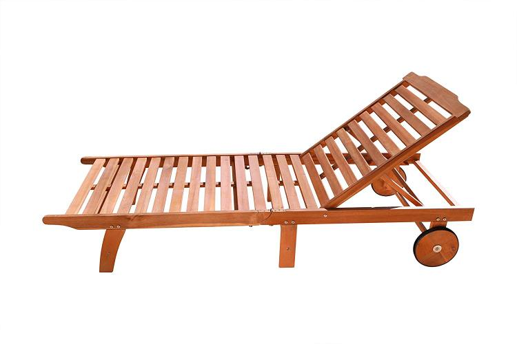 Single Outdoor Wood Chaise Lounge [Item # V255]