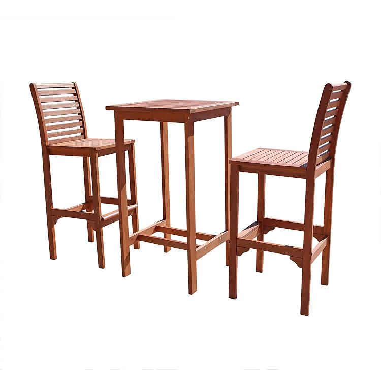 Vifah Dartmoor Eucalyptus Wood Bar Dining Set [Item # V495SET1]