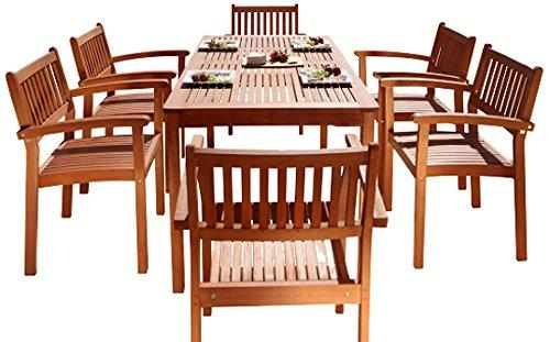 Malibu Eco-Friendly 7-Piece Wood Outdoor Dining Set with Stacking Dining Chairs V98SET10