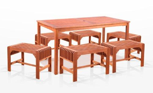 7-Piece Dining Set with Rectangular Table and Backless Benches