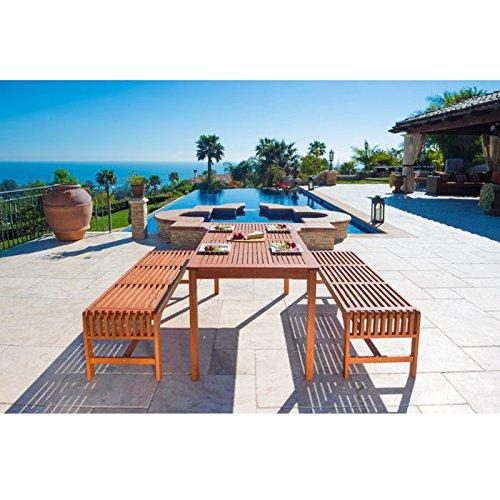 Malibu Eco-Friendly 3-Piece Wood Outdoor Dining Set with Backless Benches V98SET5