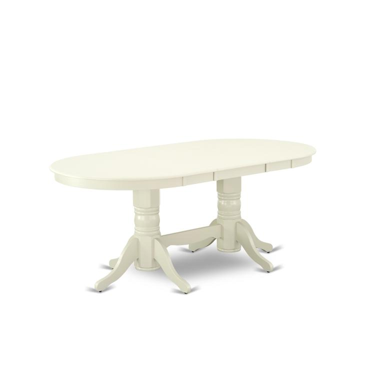 East West Furniture VAT-LWH-TP Vancouver Oval Double Pedestal dining room Table with 17