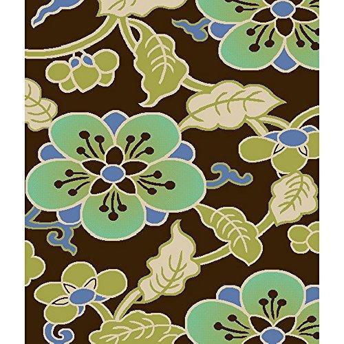 Country & Floral Rug - Veranda Polypropylene -Chocolate/Aqua Style-A