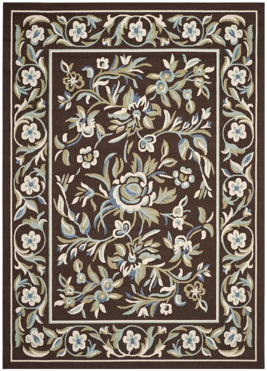 Country & Floral Rug - Veranda -Chocolate/Aqua