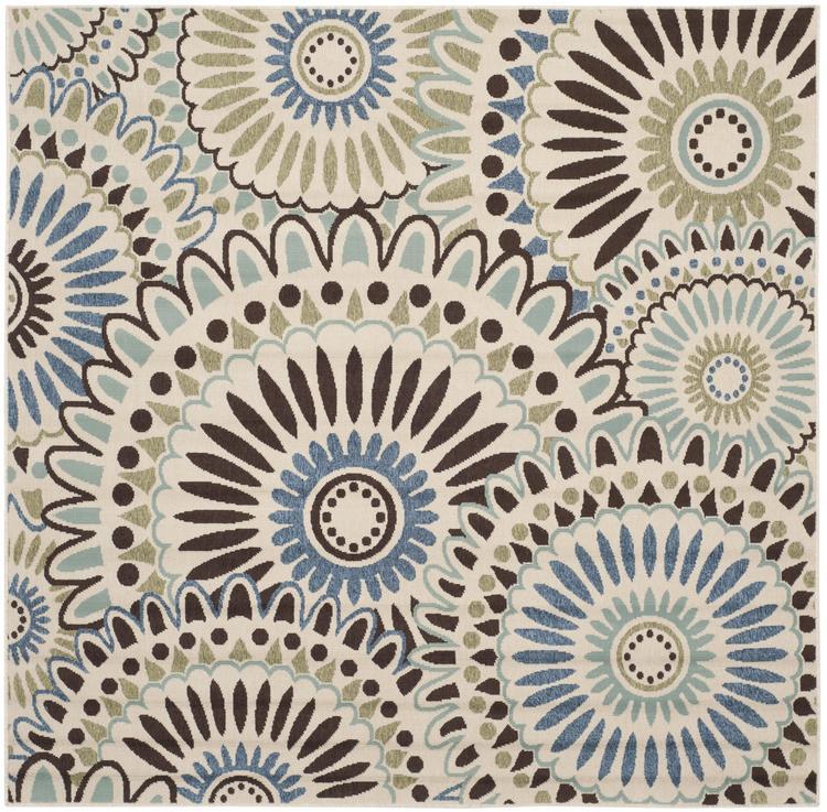 Contemporary Rug - Veranda Polypropylene -Cream/Blue