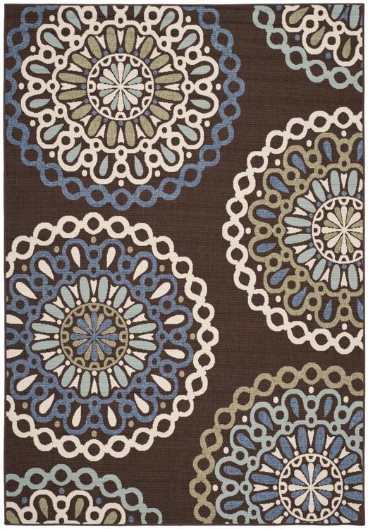 Contemporary Rug - Veranda -Chocolate/Blue