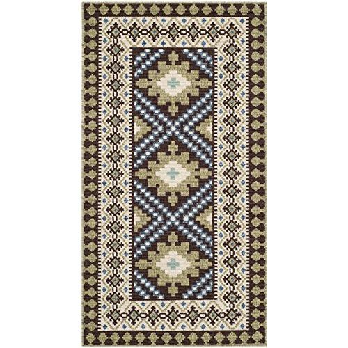 Traditional Rug - Veranda Polypropylene -Chocolate/Green
