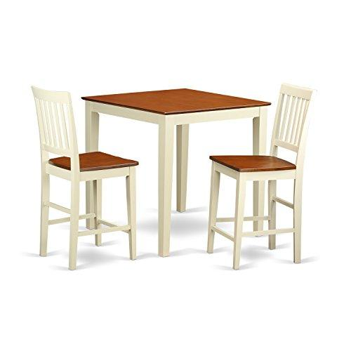 East West Furniture 3-Pc Counter Height Table Set