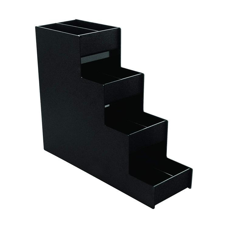 Vertiflex® Narrow Condiment Organizer, 4 Shelves, 8 Compartments, Black