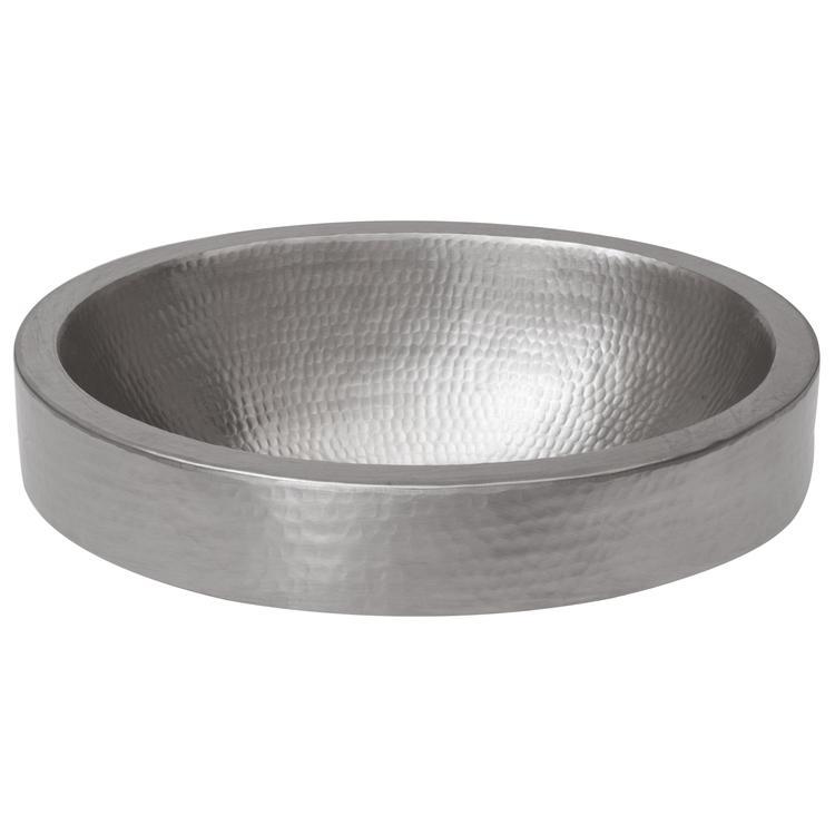 Premier Copper ProductsVO18SKEN Oval Skirted Vessel Hammered Copper Sink in Nickel