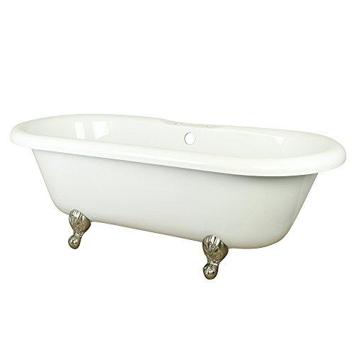 Kingston Brass VT7DS673023H8 67 inches Double Ended Acrylic Tub with Satin Nickel Constantine Lion Feet and 7 inches Centers Drillings, White