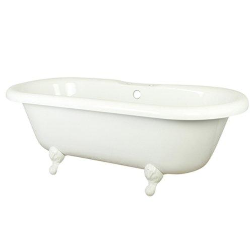 Kingston Brass VT7DS673023HW 67 inches Double Ended Acrylic Tub with White Constantine Lion Feet and 7 inches Centers Drillings, White