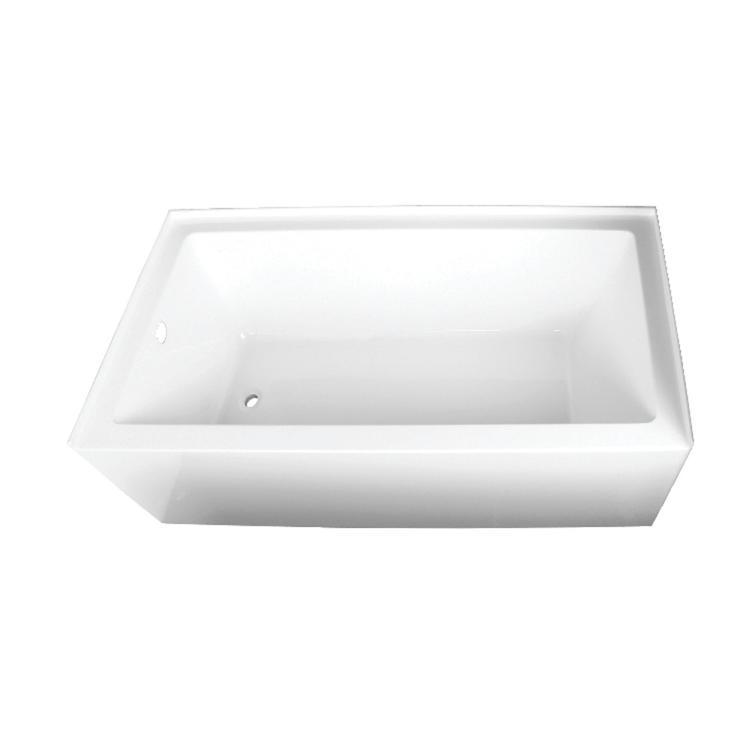 Aqua Eden 66-Inch Acrylic Alcove Tub with Left Hand Drain Hole, White