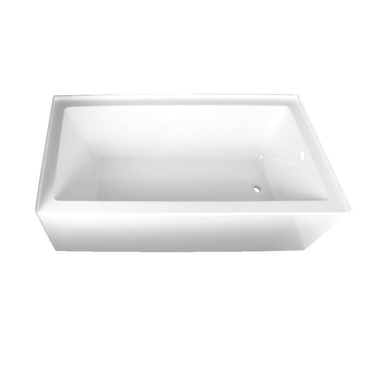 Aqua Eden 66-Inch Acrylic Alcove Tub with Right Hand Drain Hole, White