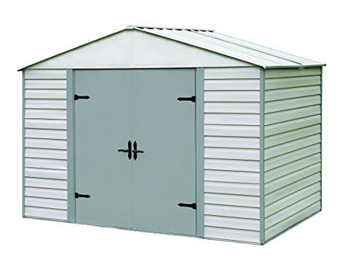 Arrow Sheds Viking®, 10x7, Vinyl Coated Steel, Stoney / Creamy Vanilla, High Gable, 71.3