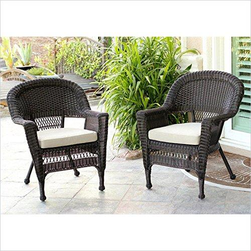 Espresso Wicker Chair with Tan Cushion - Set of 2