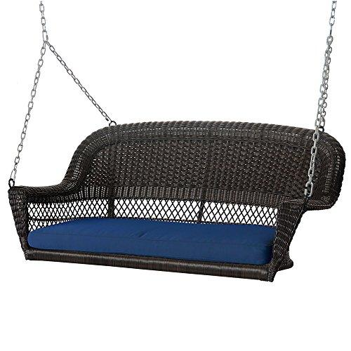 Espresso Wicker Porch Swing with Blue Cushion