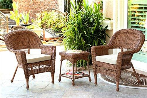 3pc Honey Wicker Chair and End Table Set with Orange Chair Cushion