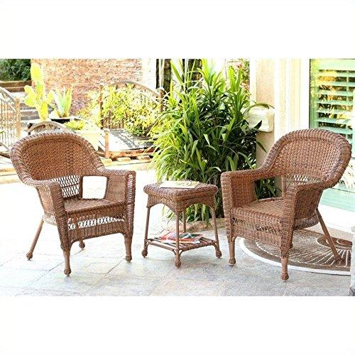 3pc Honey Wicker Chair and End Table Set without Cushion