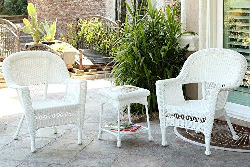 Jeco 3pc White Wicker Chair and End Table Set without Cushion