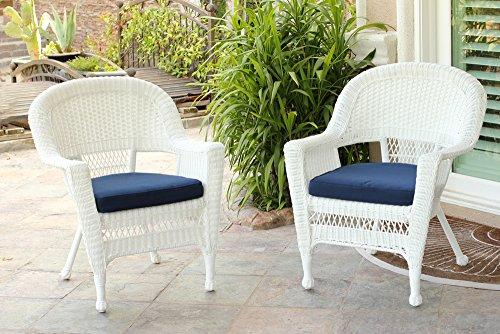 White Wicker Chair with Blue Cushion - Set of 2