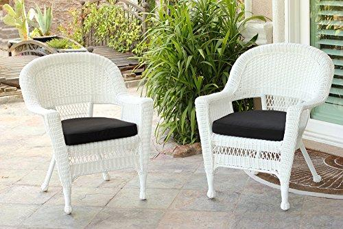 White Wicker Chair with Black Cushion - Set of 2