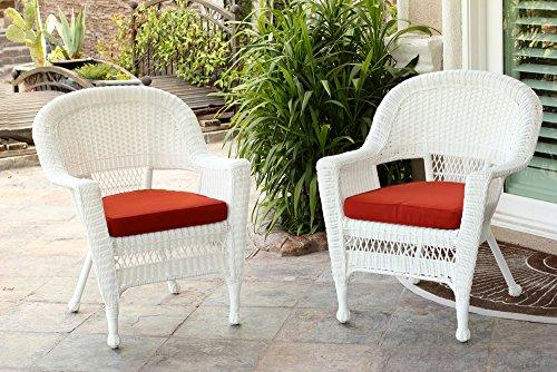 White Wicker Chair with Red Cushion - Set of 2