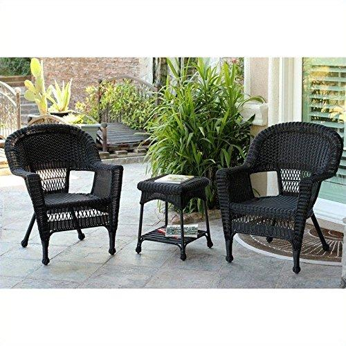 3pc Black Wicker Chair and End Table Set without Cushion