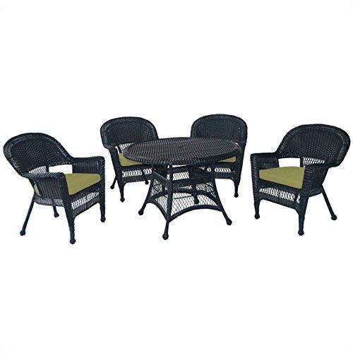 5pc Black Wicker Dining Set - Green Cushions