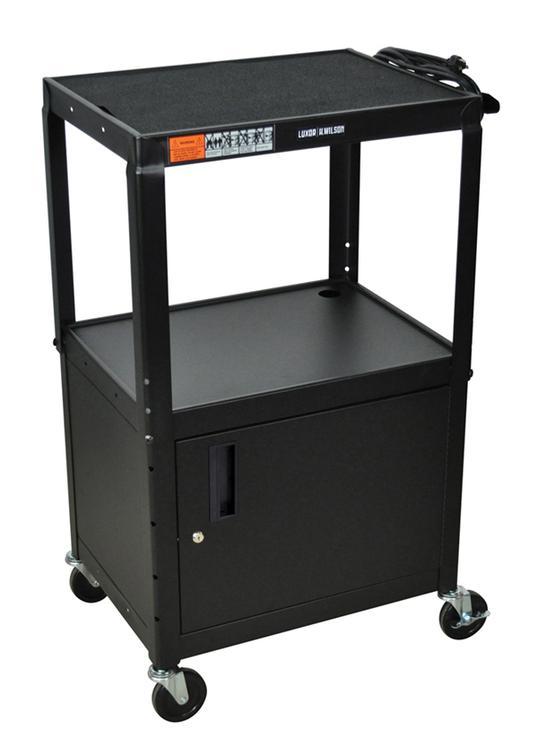 Luxor Adjustable Height Steel Cart - 3 Shelves, Cabinet