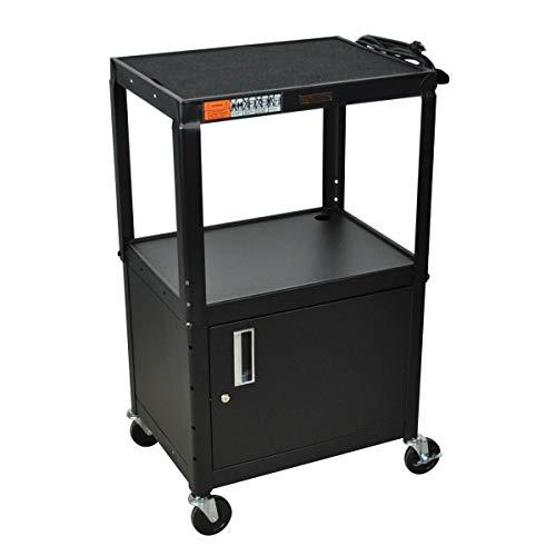 Luxor Adjustable Height Steel Cart - 3 Shelves, Cabinet