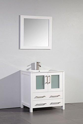 30 in. bathroom vanity in White with matching mirror