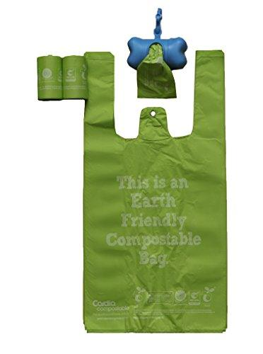 100% Compostable, Recyclable and Biodegradable Eco-Friendly Pet Waste Bags from Thermoplastic Starch - Dispenser and 2 Pack of Rolls