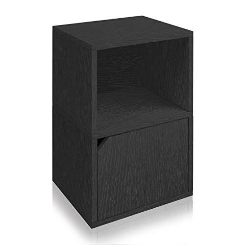 Way Basics Eco Friendly Under Desk Shelf Bookcase with Door, Black