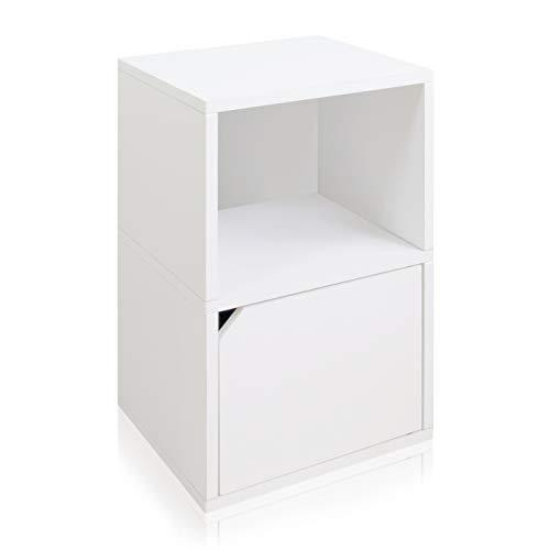 Way Basics Eco Friendly Under Desk Shelf Bookcase with Door, White